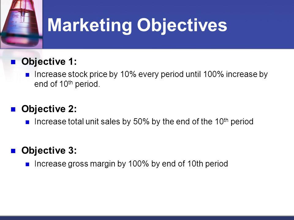 Marketing Objectives Objective 1: Objective 2: Objective 3: