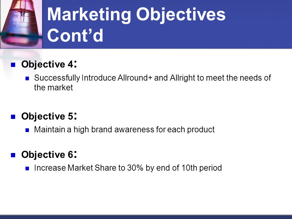 Marketing Objectives Cont'd