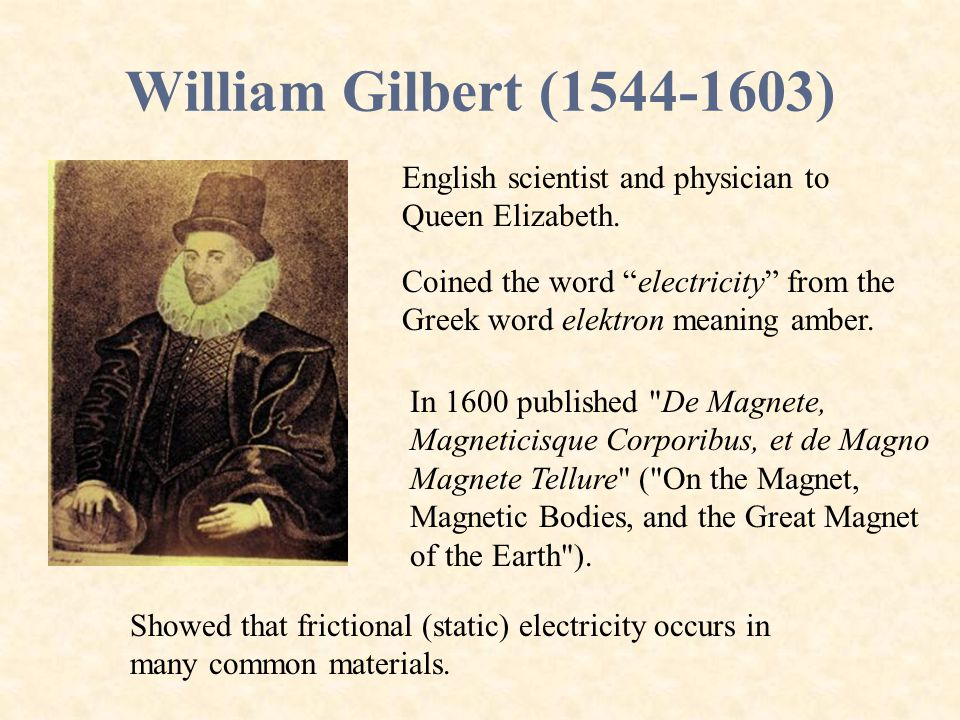 William Gilbert (1544-1603) English scientist and physician to Queen Elizabeth.
