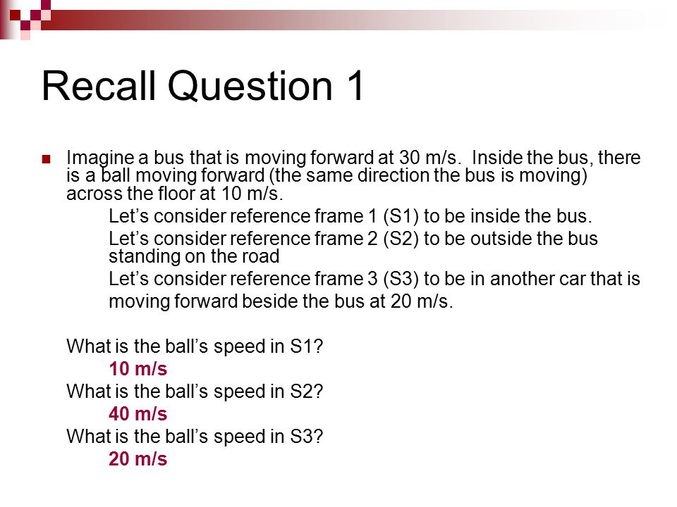 Recall Question 1