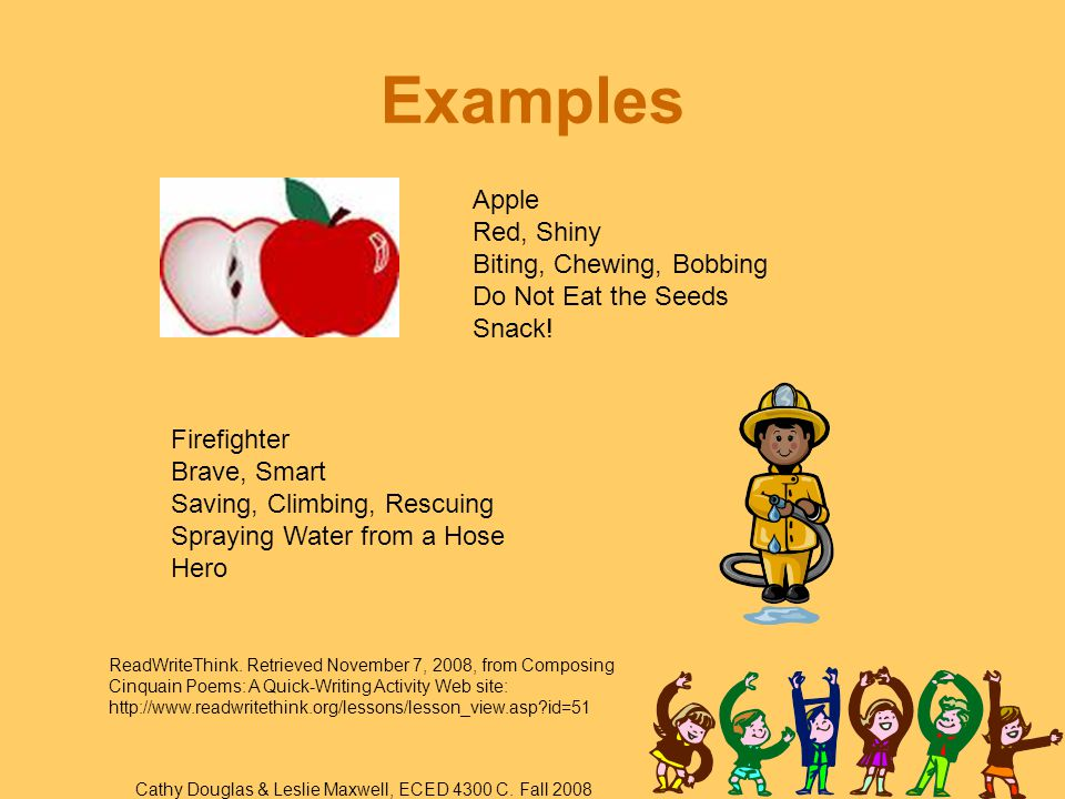 Examples Apple Red, Shiny Biting, Chewing, Bobbing