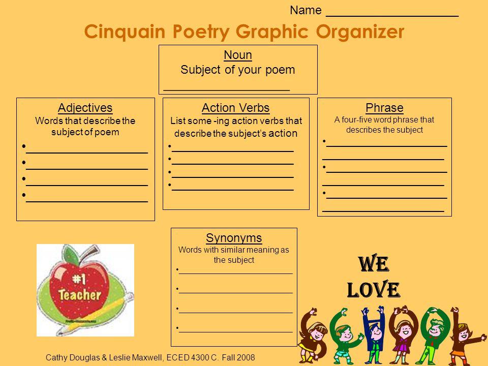 Cinquain Poetry Graphic Organizer
