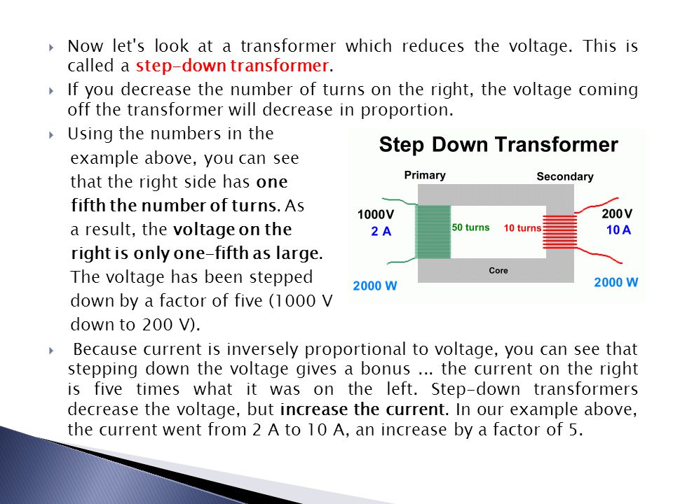 Now let s look at a transformer which reduces the voltage