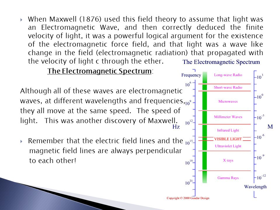 When Maxwell (1876) used this field theory to assume that light was an Electromagnetic Wave, and then correctly deduced the finite velocity of light, it was a powerful logical argument for the existence of the electromagnetic force field, and that light was a wave like change in the field (electromagnetic radiation) that propagated with the velocity of light c through the ether.