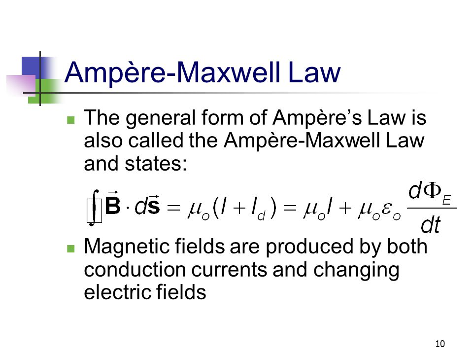 Ampère-Maxwell Law The general form of Ampère's Law is also called the Ampère-Maxwell Law and states: