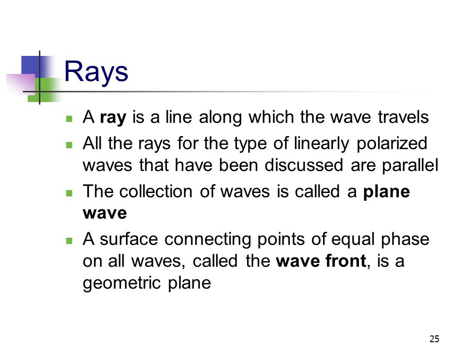 Rays A ray is a line along which the wave travels