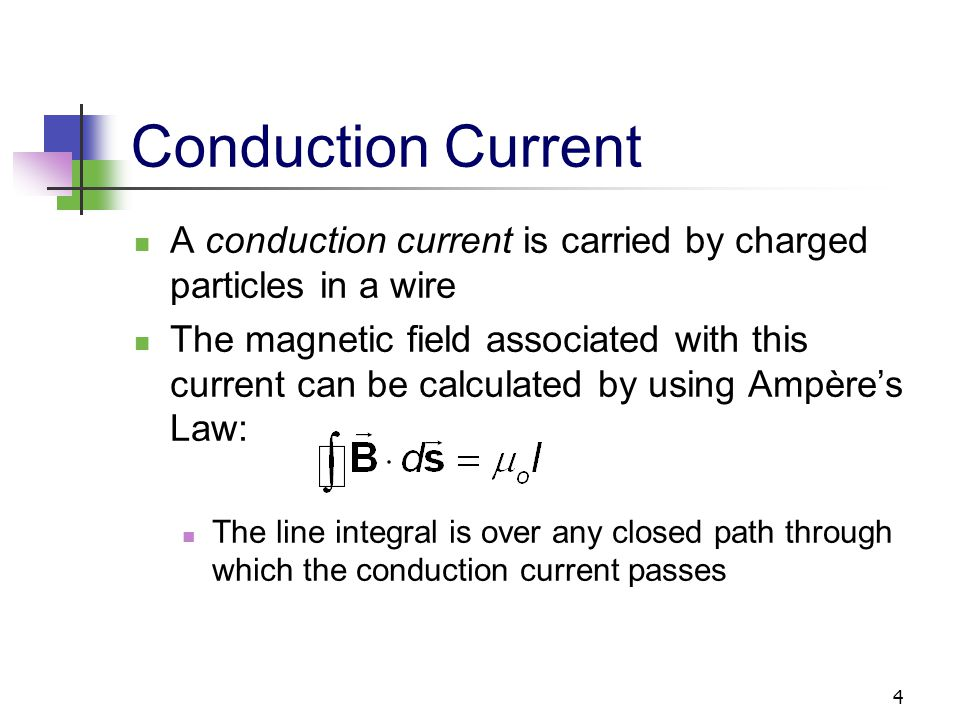 Conduction Current A conduction current is carried by charged particles in a wire.