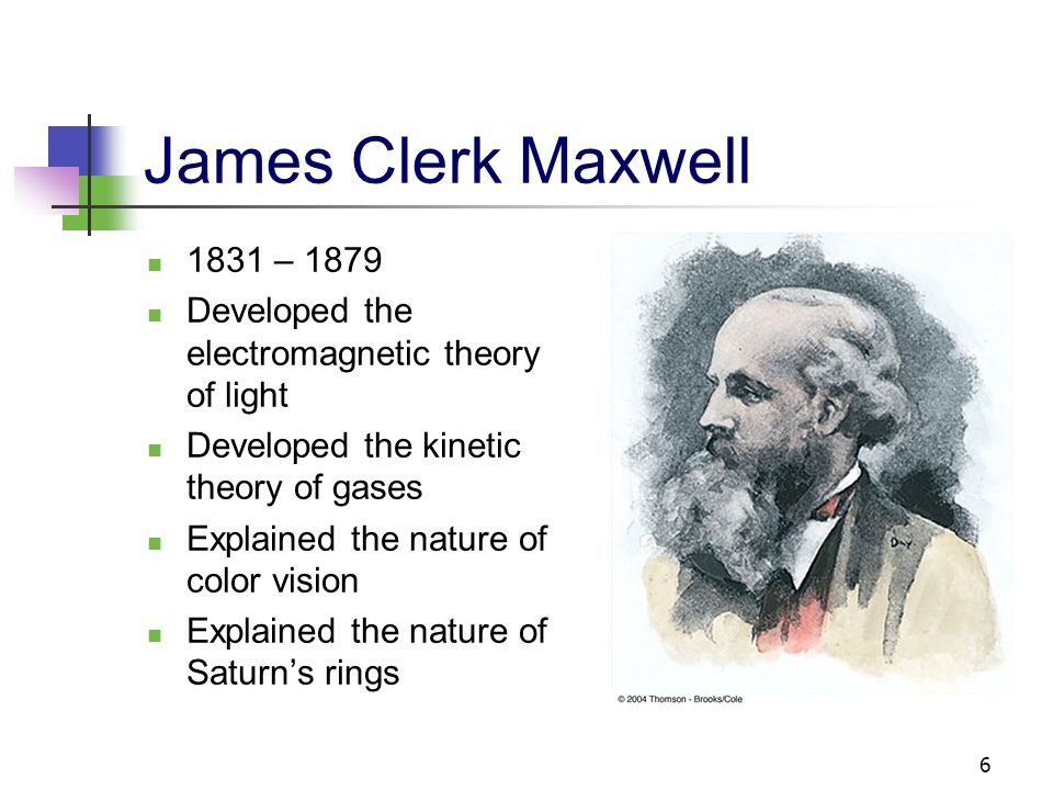James Clerk Maxwell 1831 – 1879. Developed the electromagnetic theory of light. Developed the kinetic theory of gases.