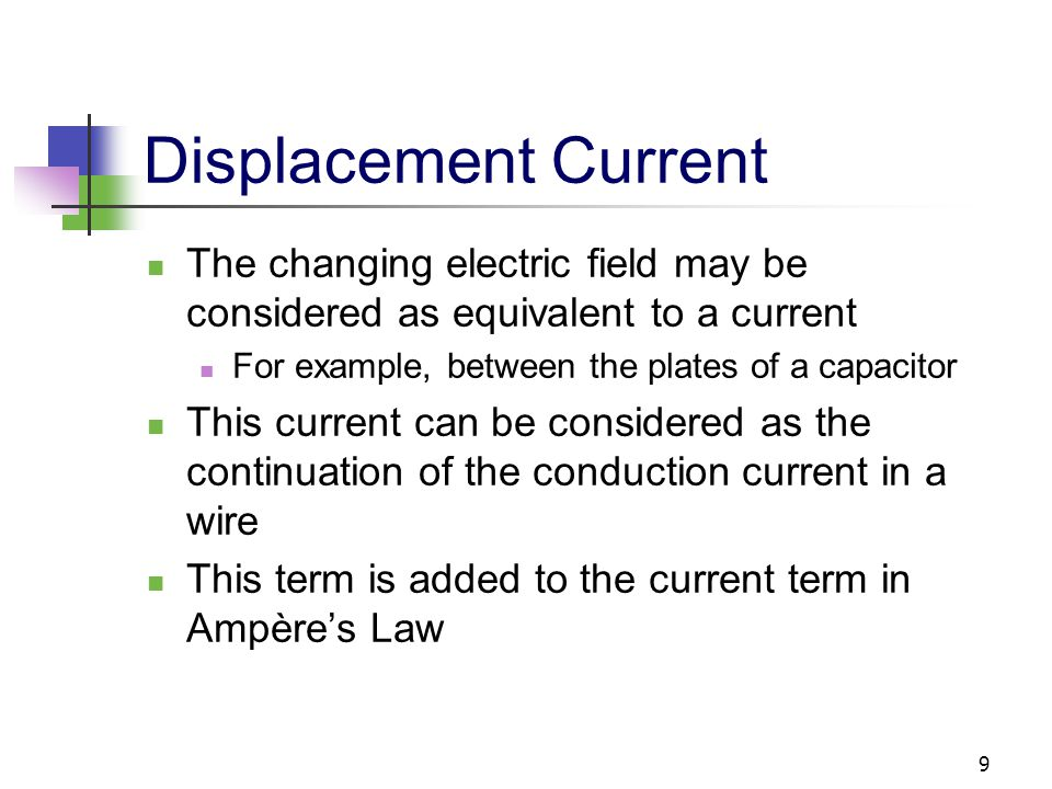 Displacement Current The changing electric field may be considered as equivalent to a current. For example, between the plates of a capacitor.