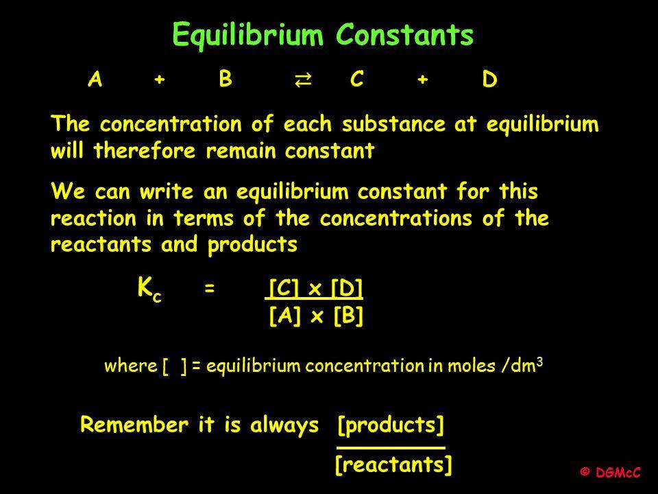 Equilibrium Constants A + B ⇄ C + D