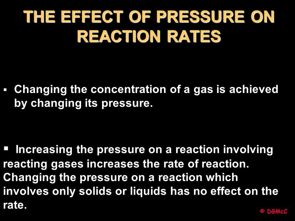 THE EFFECT OF PRESSURE ON REACTION RATES