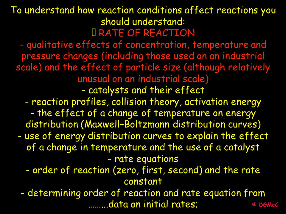 To understand how reaction conditions affect reactions you