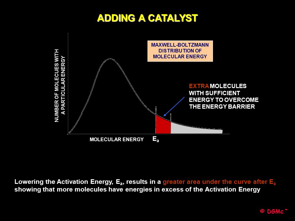 ADDING A CATALYST MAXWELL-BOLTZMANN DISTRIBUTION OF MOLECULAR ENERGY. NUMBER OF MOLECUES WITH. A PARTICULAR ENERGY.