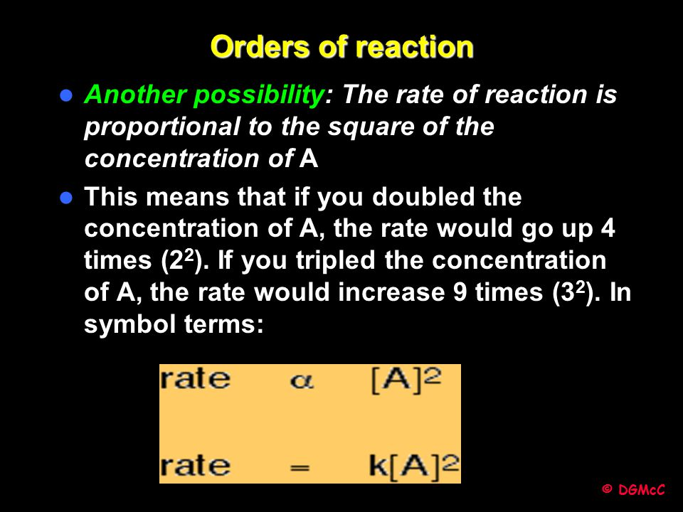 Orders of reaction Another possibility: The rate of reaction is proportional to the square of the concentration of A.
