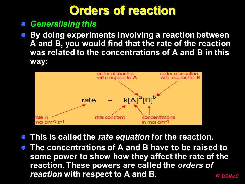 Orders of reaction Generalising this
