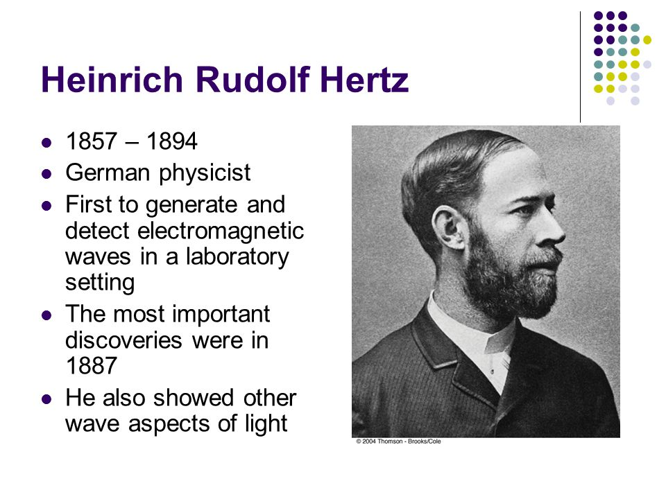 Heinrich Rudolf Hertz 1857 – 1894 German physicist