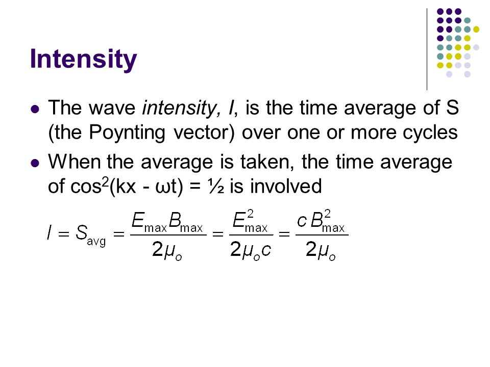 Intensity The wave intensity, I, is the time average of S (the Poynting vector) over one or more cycles.