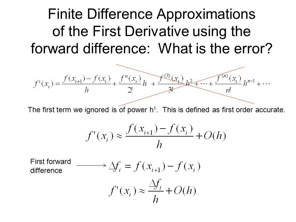 Finite Difference Approximations of the First Derivative using the forward difference: What is the error