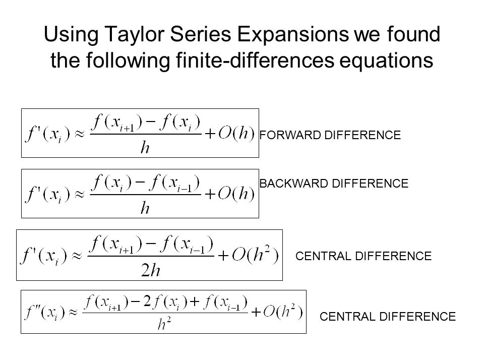 Using Taylor Series Expansions we found the following finite-differences equations