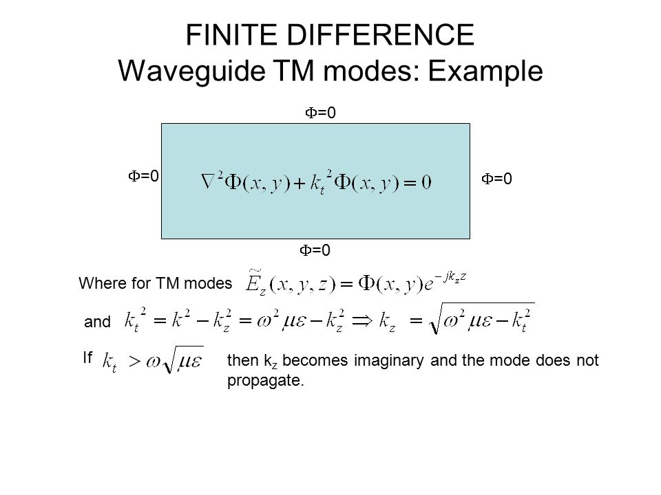 FINITE DIFFERENCE Waveguide TM modes: Example