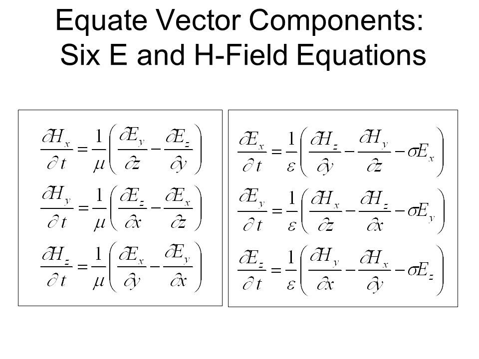 Equate Vector Components: Six E and H-Field Equations