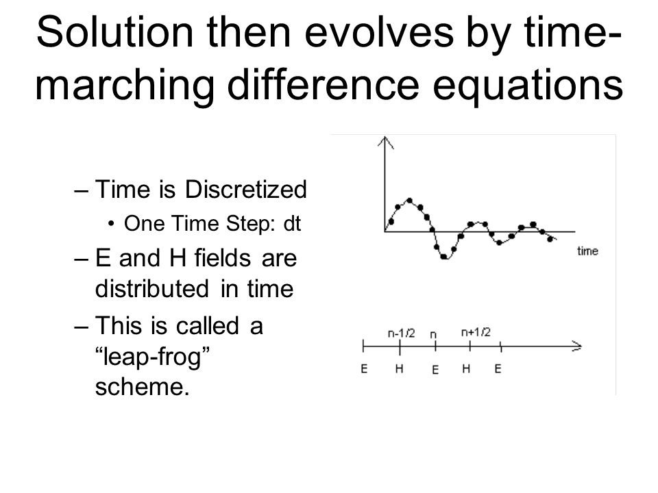 Solution then evolves by time-marching difference equations