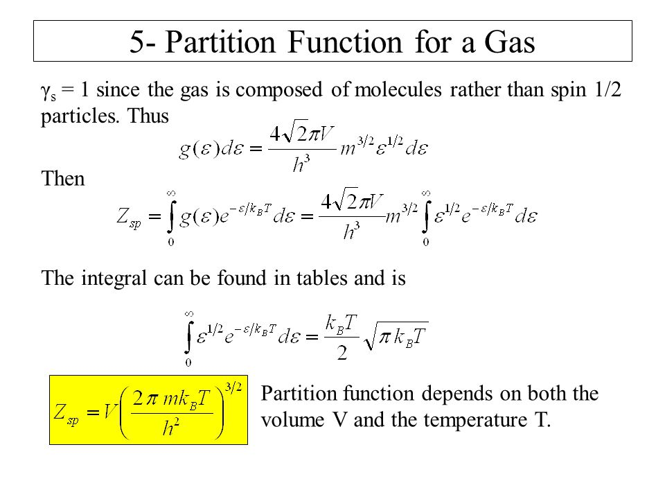 5- Partition Function for a Gas