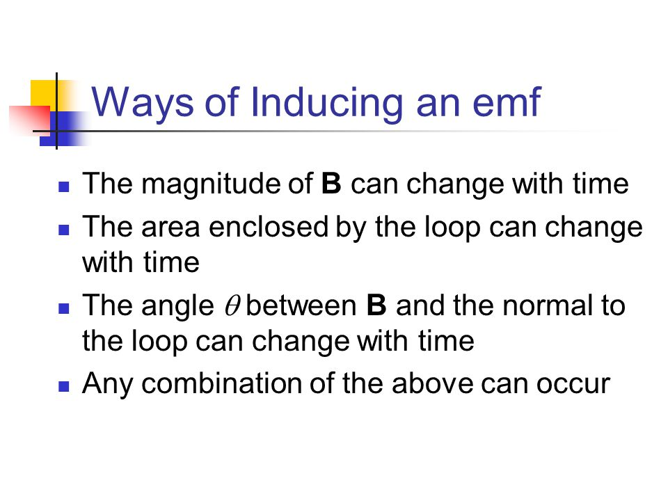 Ways of Inducing an emf The magnitude of B can change with time
