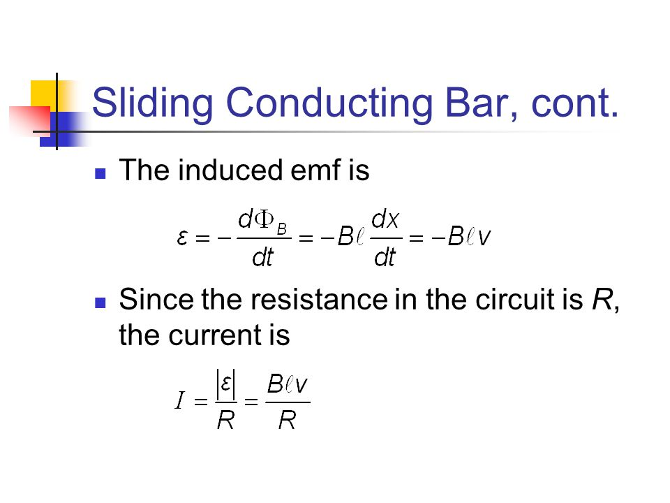 Sliding Conducting Bar, cont.