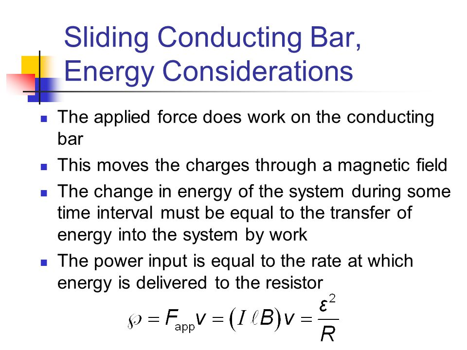 Sliding Conducting Bar, Energy Considerations