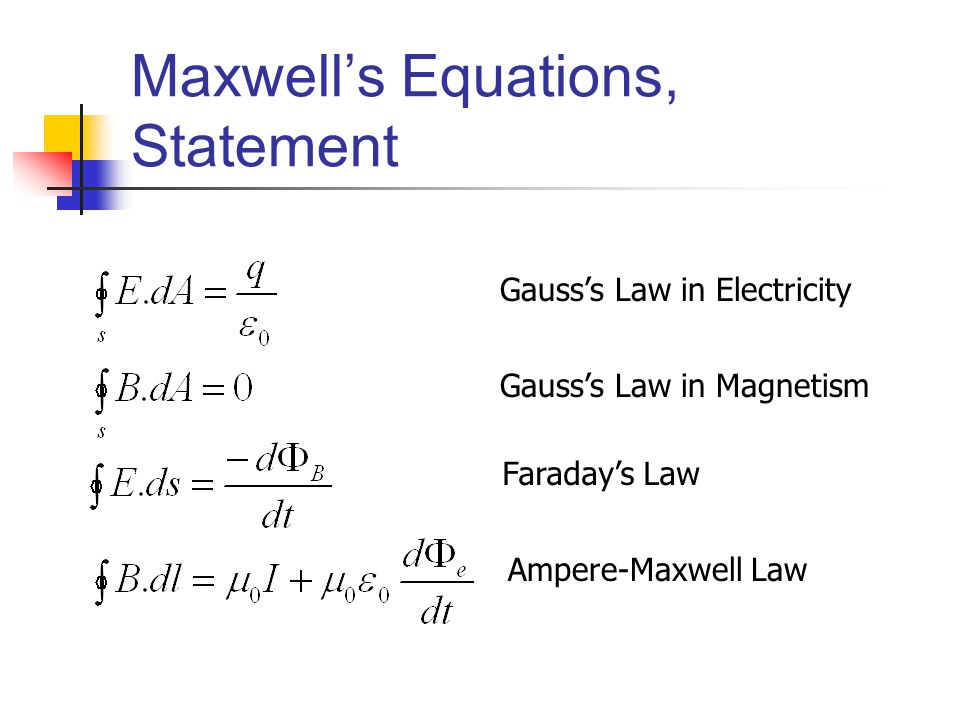 Maxwell's Equations, Statement