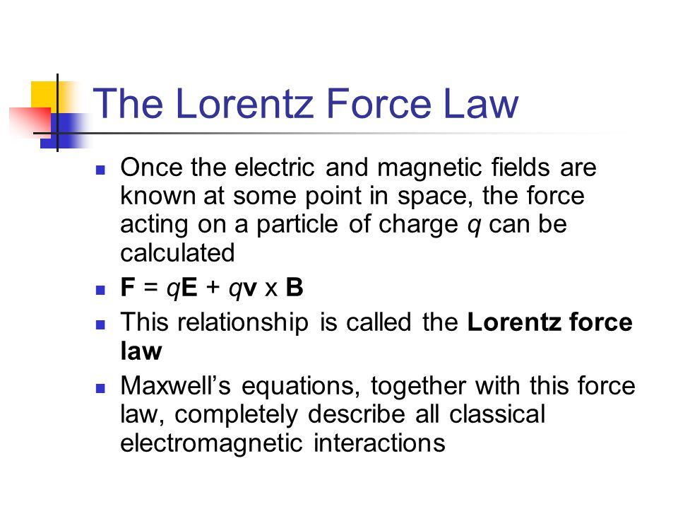 The Lorentz Force Law