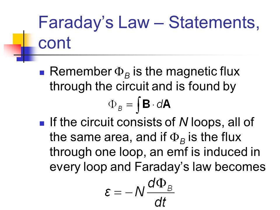 Faraday's Law – Statements, cont
