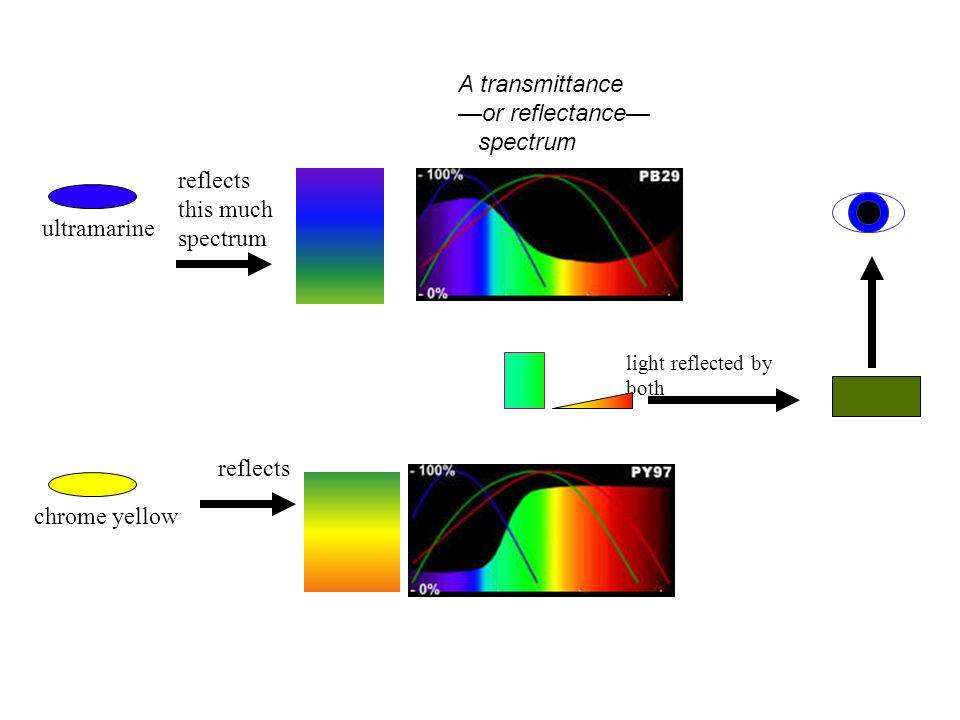 A transmittance —or reflectance— spectrum reflects this much spectrum