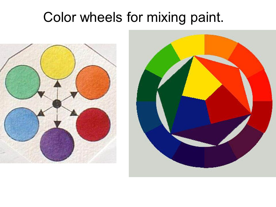 Color wheels for mixing paint.