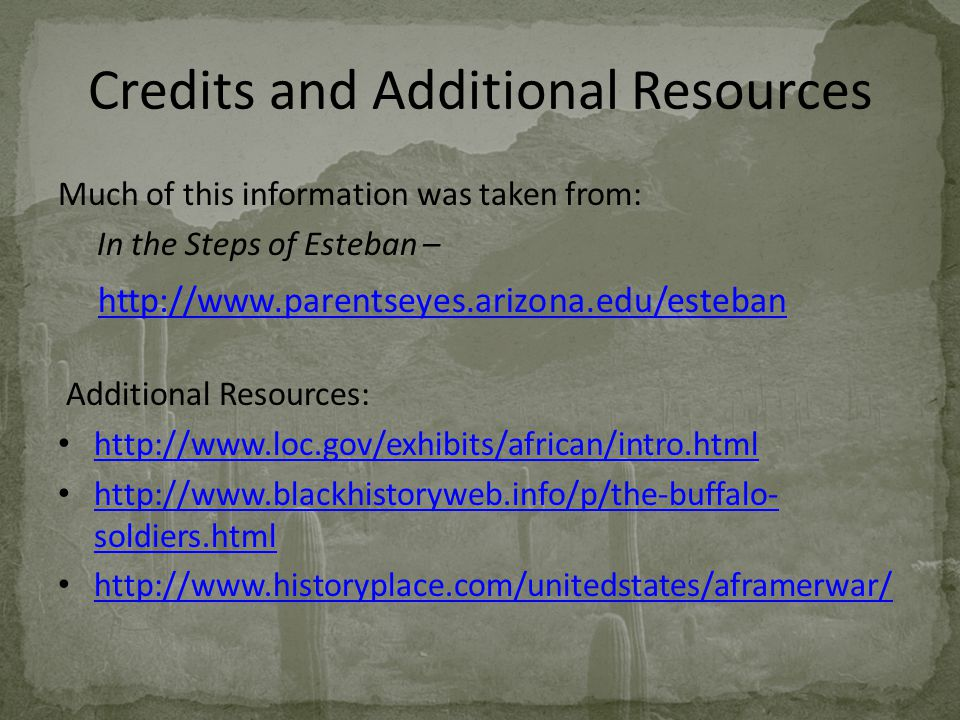 Credits and Additional Resources