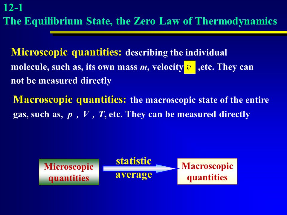 Microscopic quantities Macroscopic quantities
