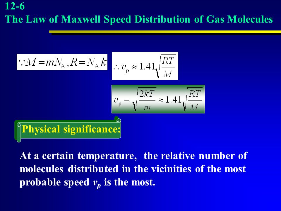 12-6 The Law of Maxwell Speed Distribution of Gas Molecules. Physical significance: