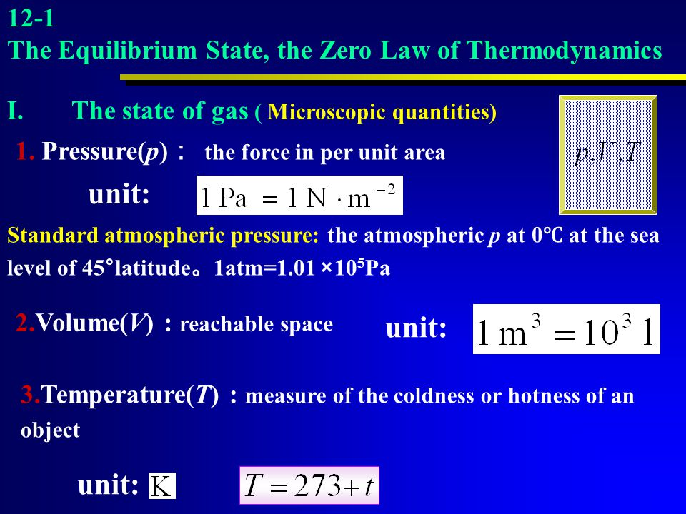 12-1 The Equilibrium State, the Zero Law of Thermodynamics. The state of gas ( Microscopic quantities)