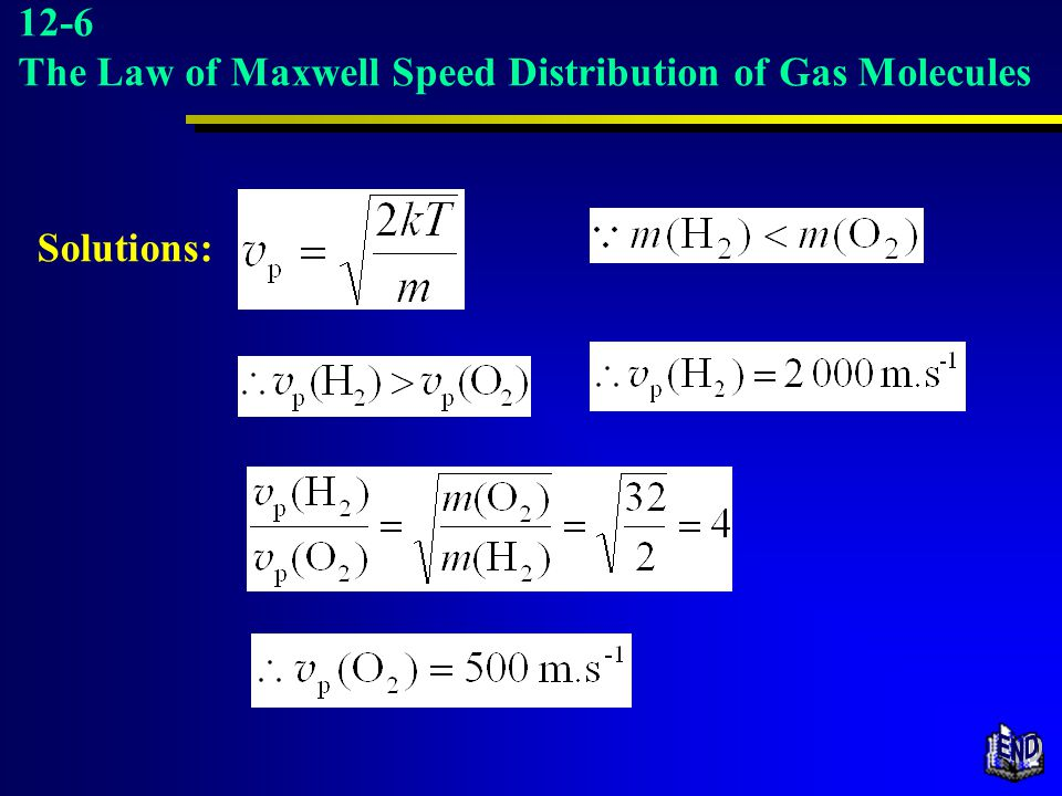 END 12-6 The Law of Maxwell Speed Distribution of Gas Molecules