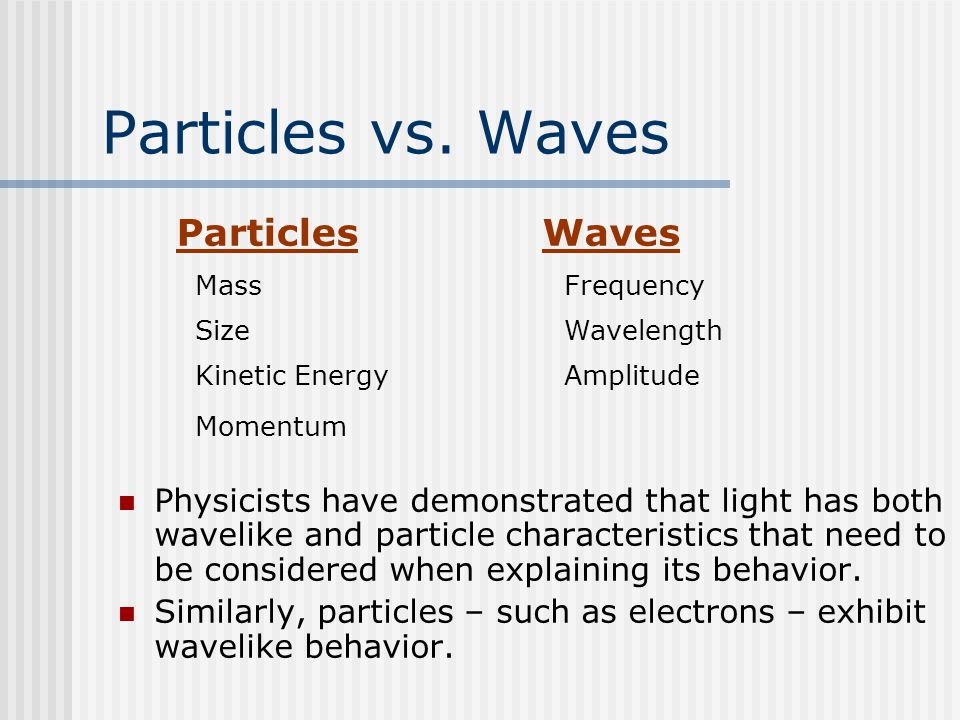 Particles vs. Waves Particles Waves