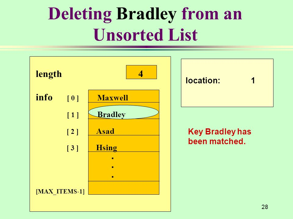 Deleting Bradley from an Unsorted List