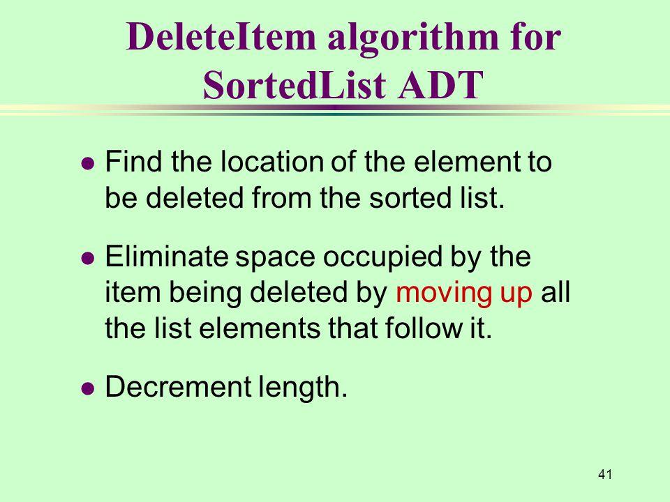 DeleteItem algorithm for SortedList ADT