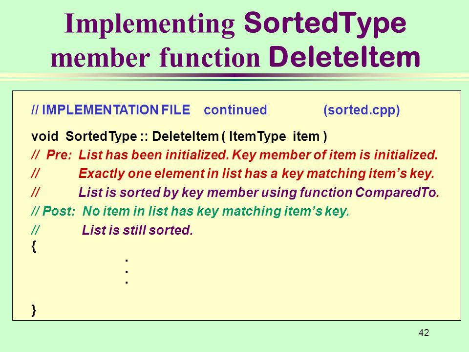 Implementing SortedType member function DeleteItem