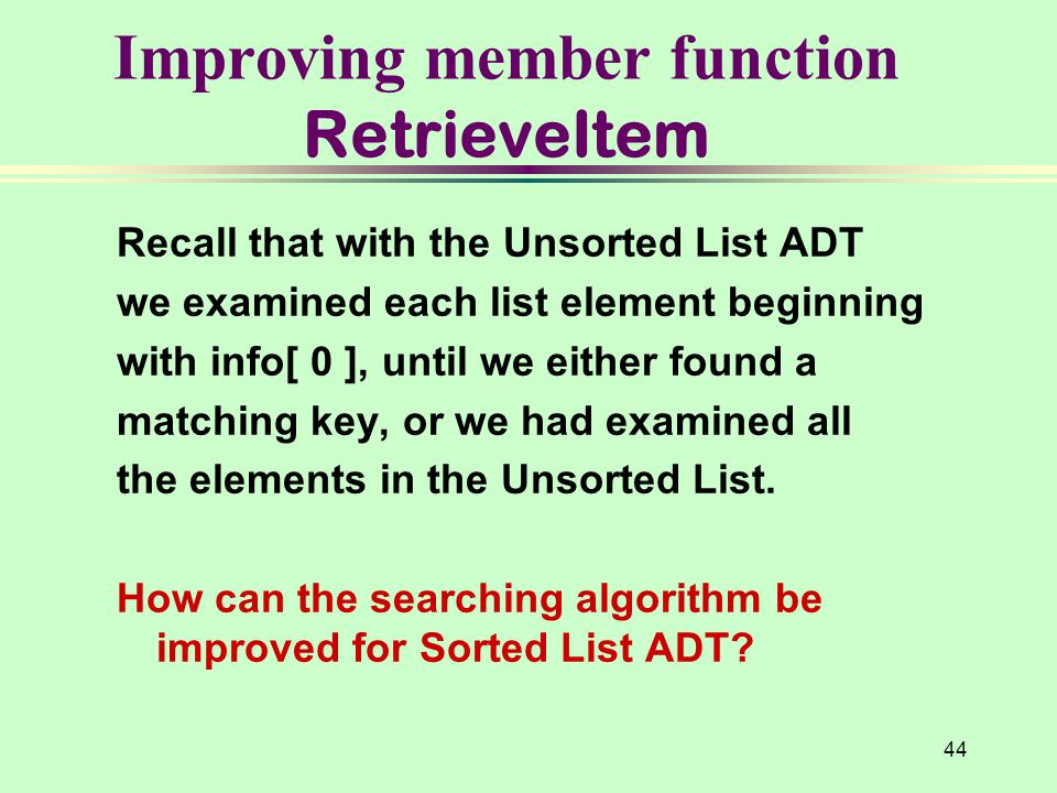 Improving member function RetrieveItem