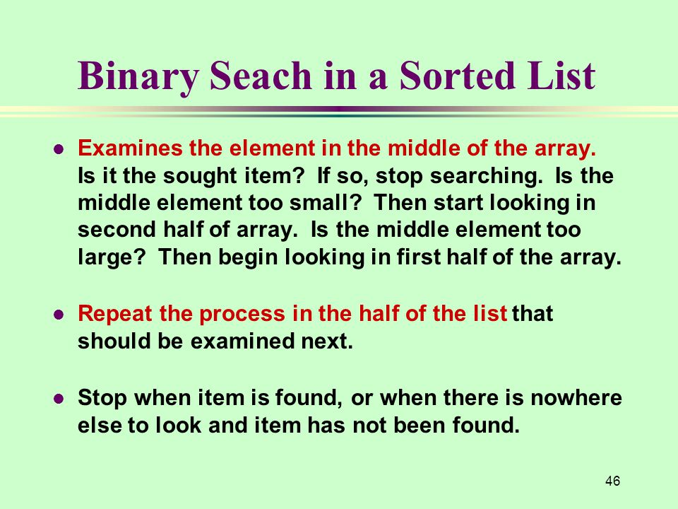 Binary Seach in a Sorted List