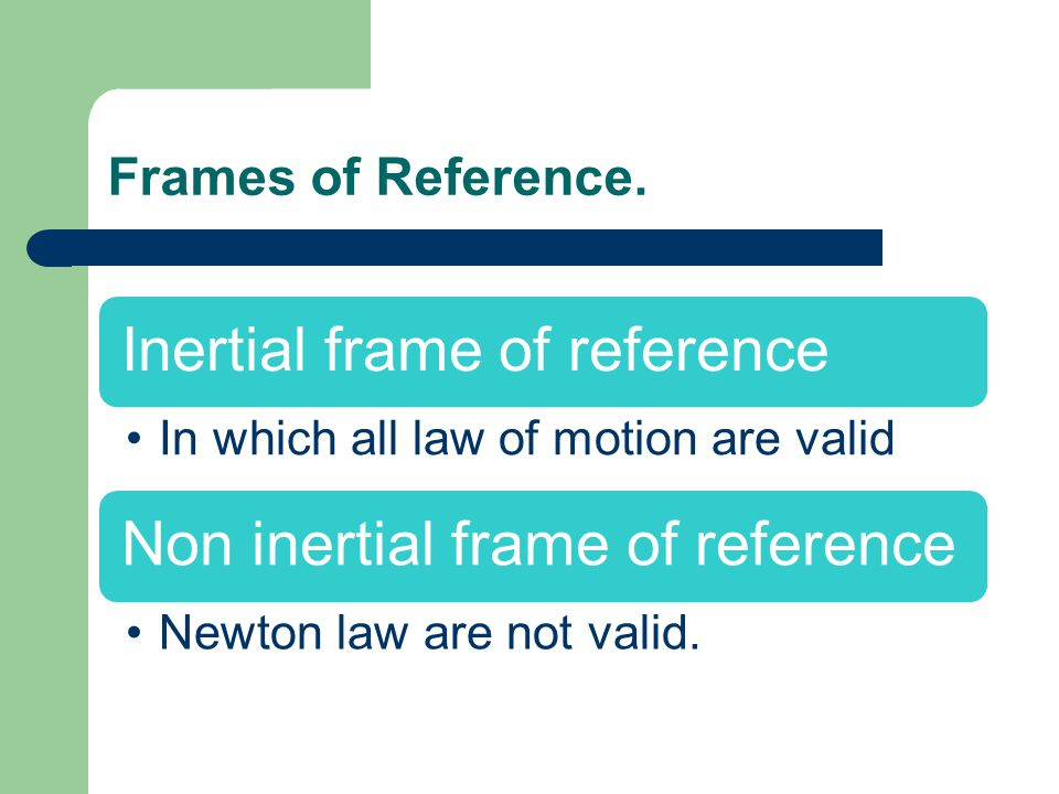 Frames of Reference. Inertial frame of reference