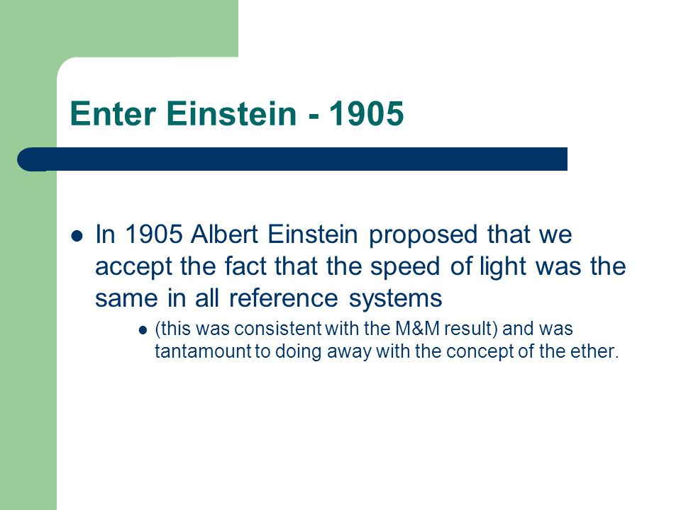 Enter Einstein - 1905 In 1905 Albert Einstein proposed that we accept the fact that the speed of light was the same in all reference systems.