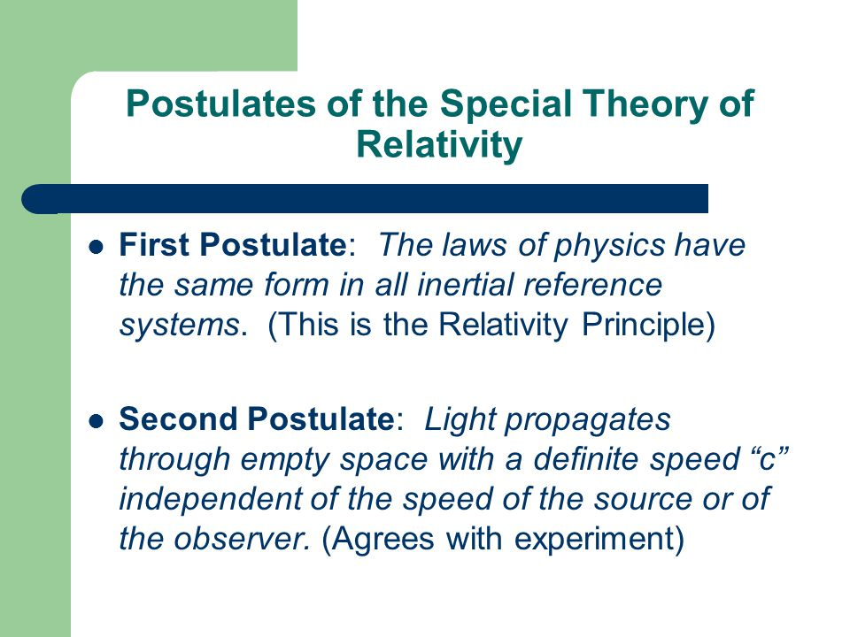 Postulates of the Special Theory of Relativity