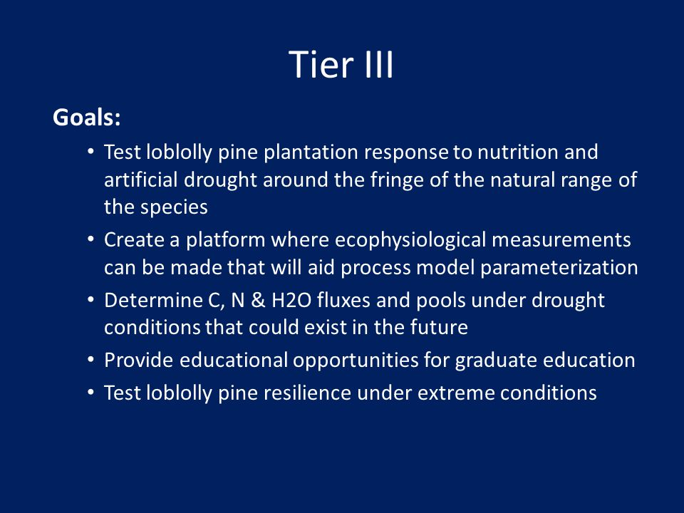Tier III Goals: Test loblolly pine plantation response to nutrition and artificial drought around the fringe of the natural range of the species.